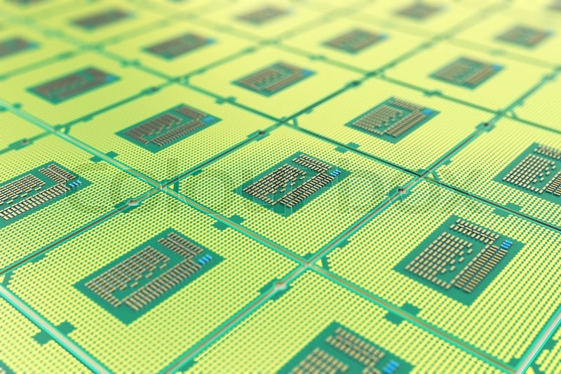 Stock image of 'Modern central computer processors CPU, industry concept close-up view with depth of field effect.'