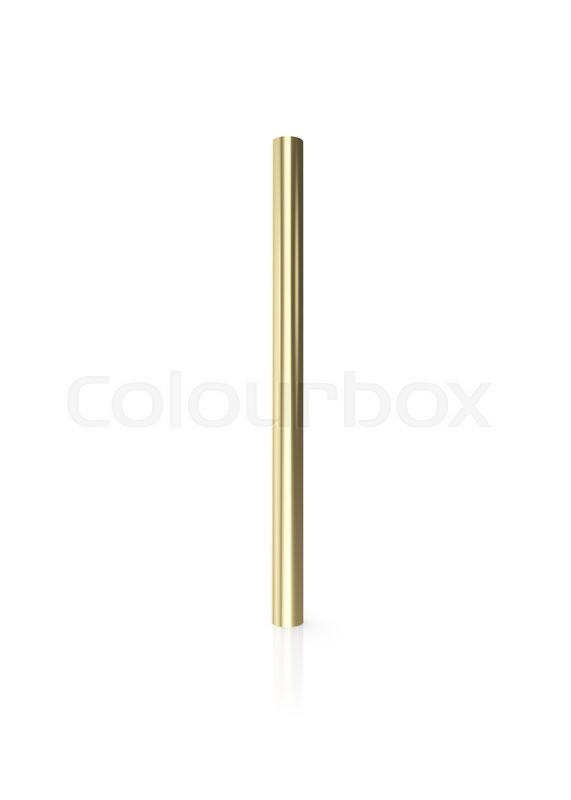 Stock image of 'Gold pipes isolated on white background with reflect floor. 3d illustration'
