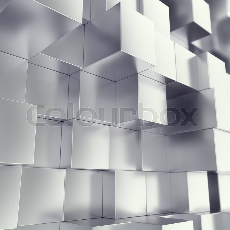 Stock image of 'Metal cubes abstract background, with depth of field effect. 3d illustration'