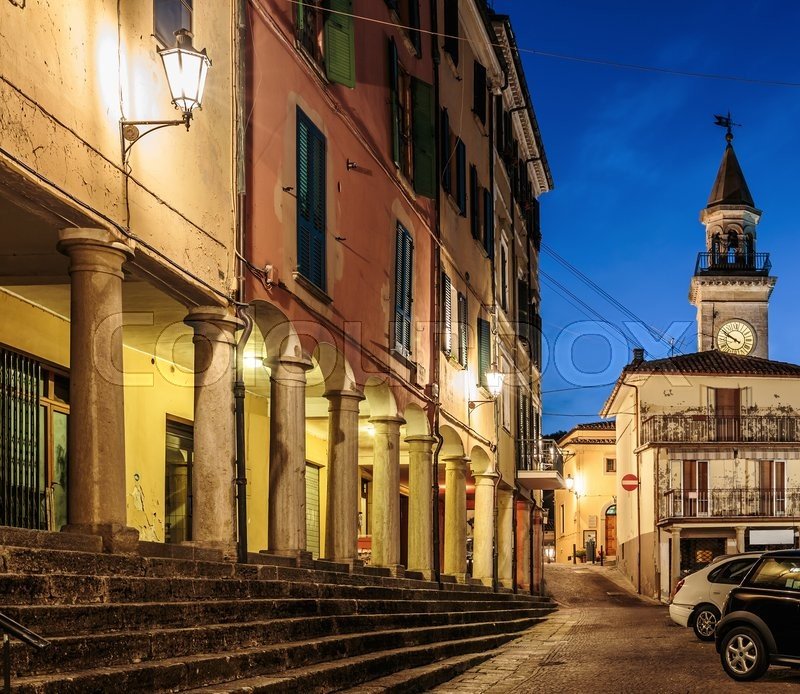 Stock image of 'Street in the old town in San Marino at night'