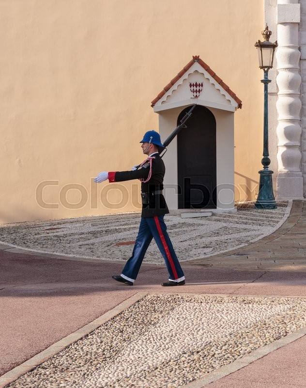 Editorial image of 'MONTE CARLO, MONACO - NOVEMBER 2, 2014:  Guard of honor at residence of Prince of Monaco.'