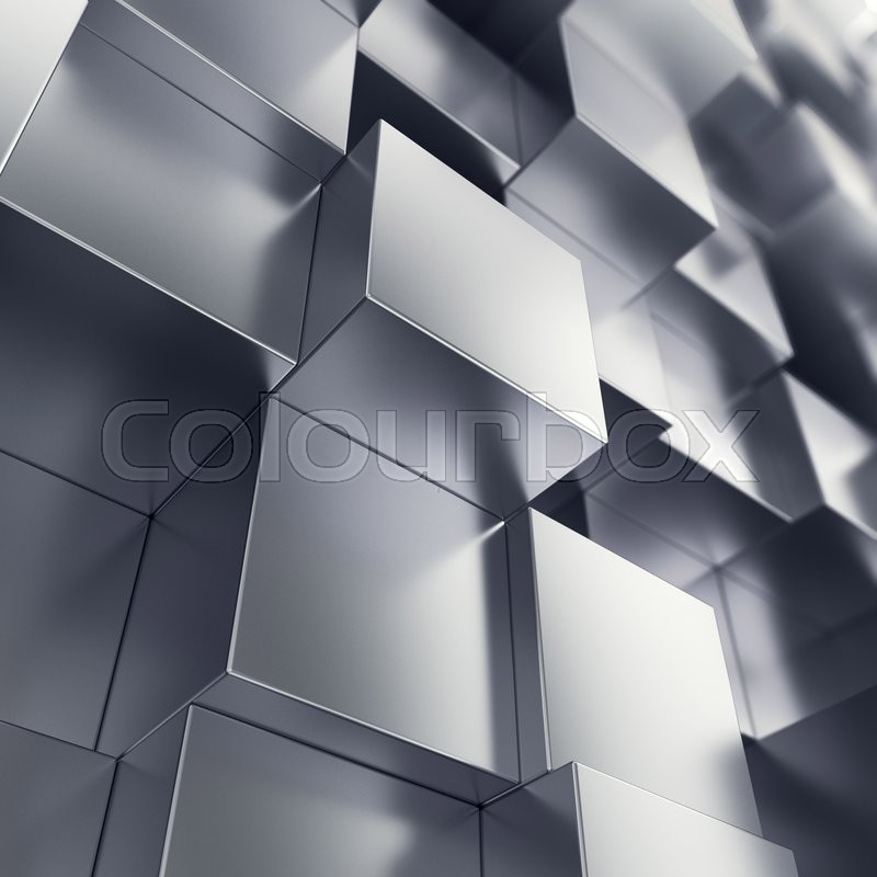 Stock image of 'Abstract background from metallic cubes, with focue effects. 3d illustration'