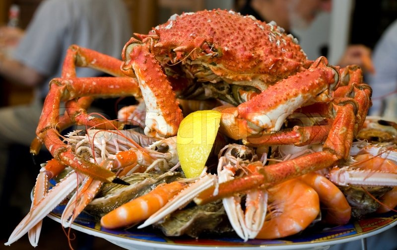 Seafood Plate With Crab Prawns Stock Photo Colourbox