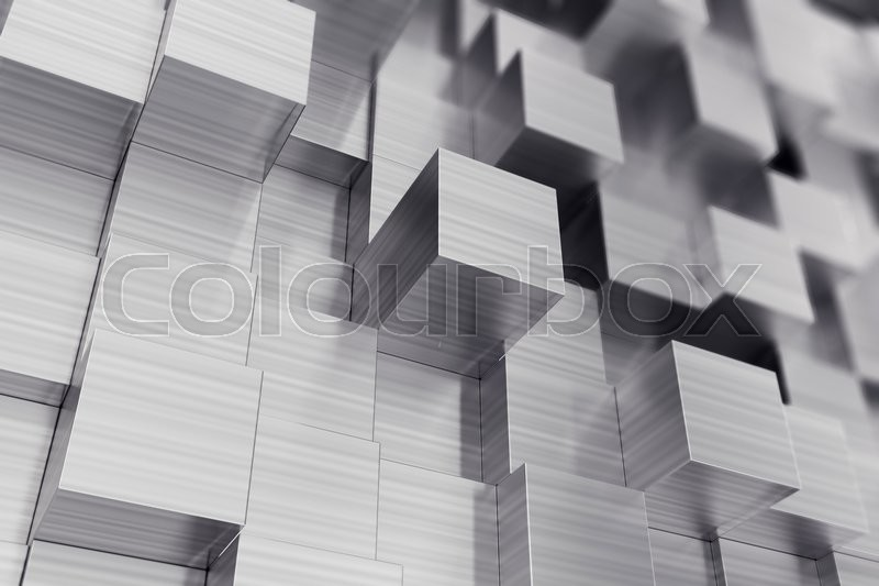 Stock image of 'Scratched cubes abstract background with focus effect., 3d illustration'