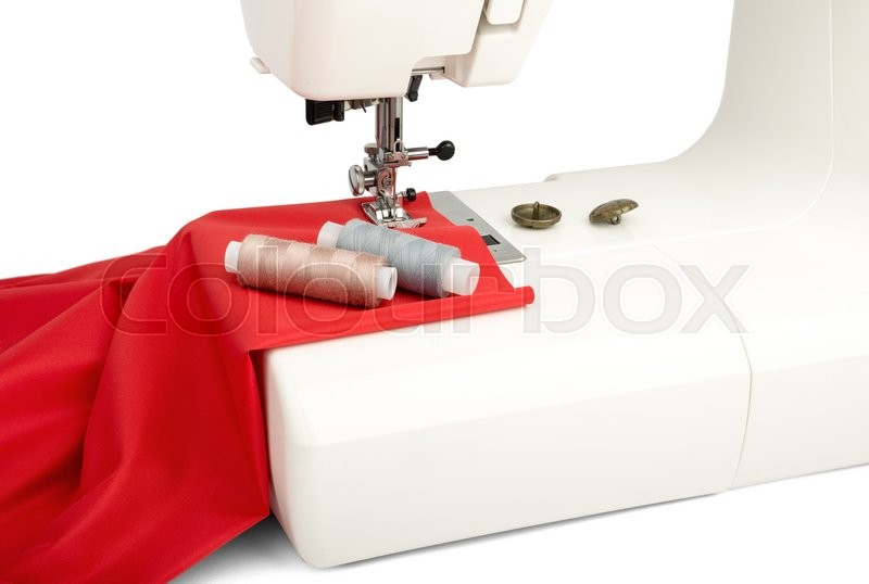 Stock image of 'sewing machine textile close-up thread'