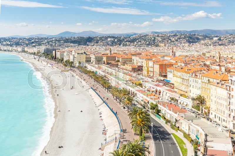 Stock image of 'Nice Cote d'Azur Riviera France with mediterranean beach sea'