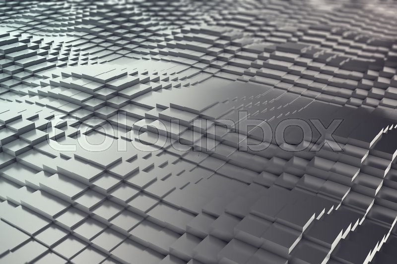 Stock image of 'Abstract background of black metal cubes in the form of a wave. 3d illustration'