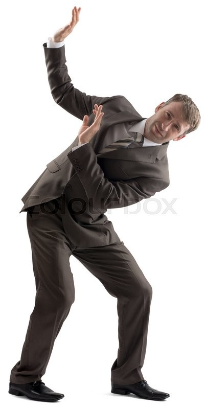Stock image of 'Embarrassed caucasian businessman in business formal outfit defending with body isolated on white background'
