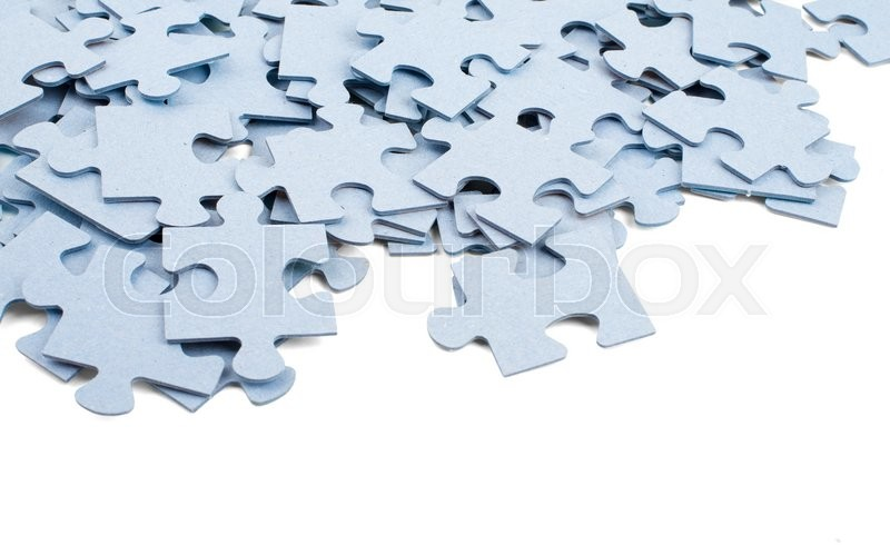 Stock image of 'Puzzle grey pieces isolated on white background'