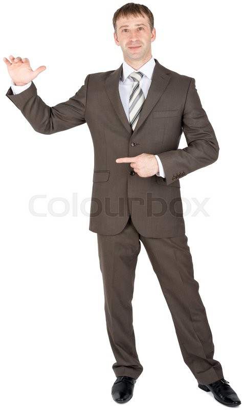 Stock image of 'Young man presenting your product, isolated over white background'