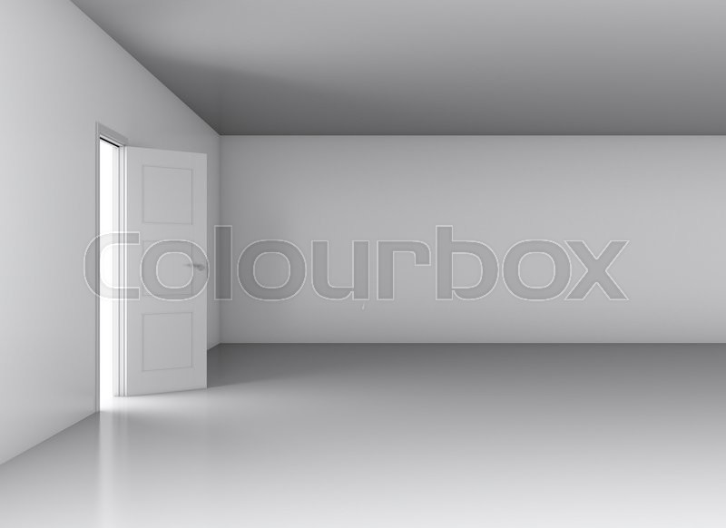 Stock image of 'Door, opened from an empty room. 3D illustration'