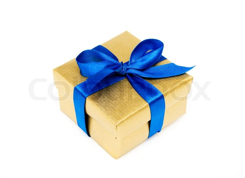 Golden gift box with a blue ribbon on a white background stock golden gift box with a blue ribbon on a white background stock photo negle Choice Image