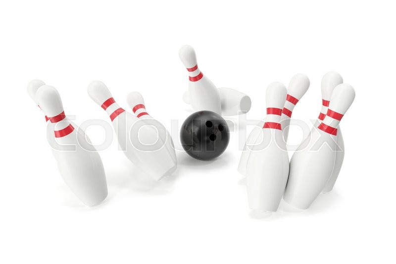 Stock image of 'Bowling ball and skittles isolated on white background. 3d illustration'