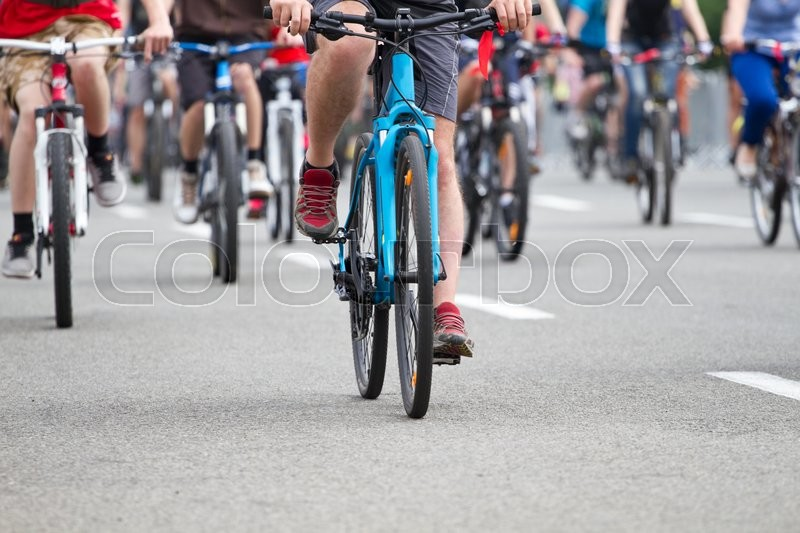 Stock image of 'Group of cyclist at bike race'