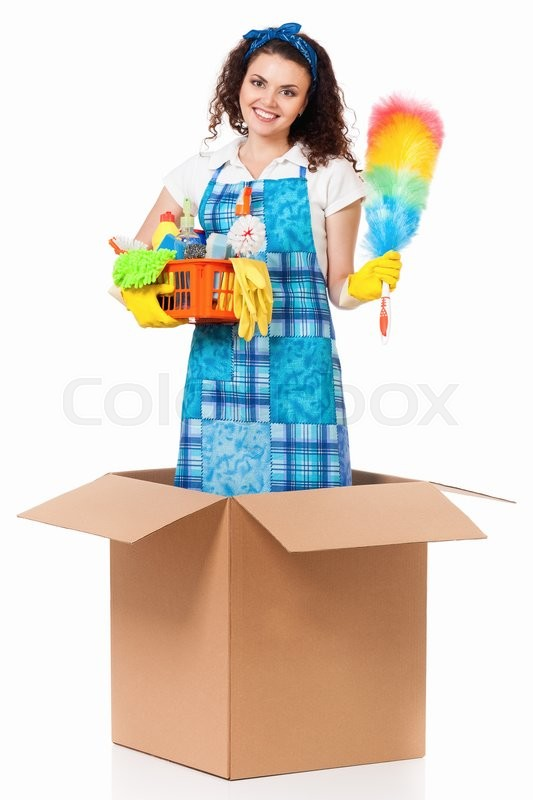 Stock image of 'Young housewife with cleaning supplies in cardboard box, isolated on white background'