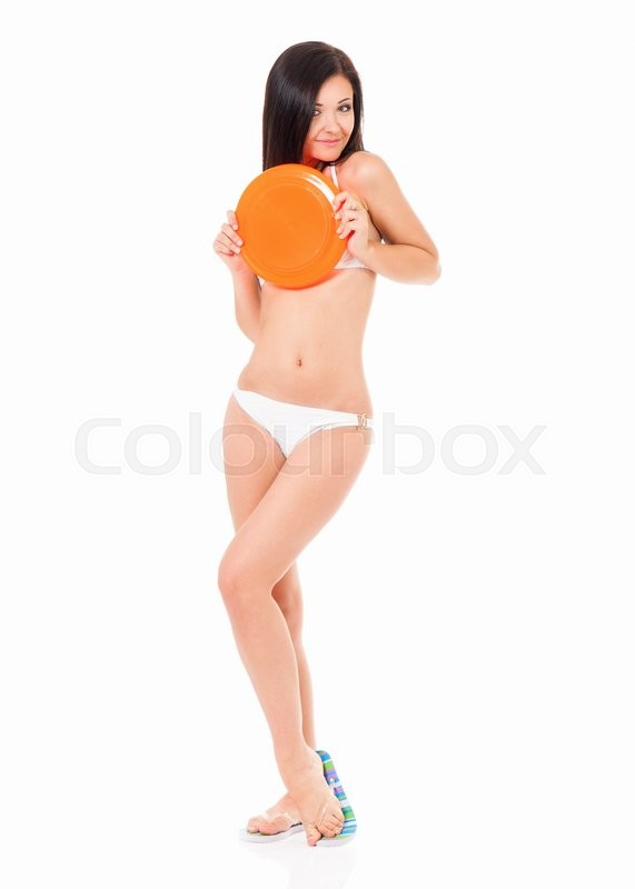 Stock image of 'Happy young woman in a white bikini with flying disc, isolated on white background '