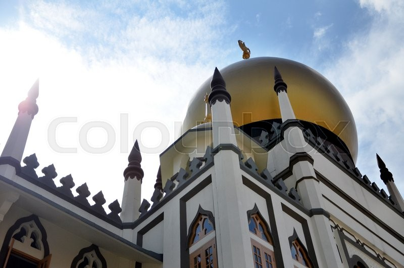 Stock image of 'SINGAPORE - 05 JUN, 2015: Day view of the iconic Sultan Mosque, It is located at the heart of Kampong Glam Malay Heritage District in Singapore.'