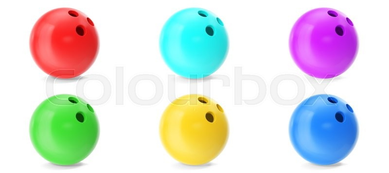 Stock image of 'Colorful set bowling ball isolated on white background. 3d illustration'