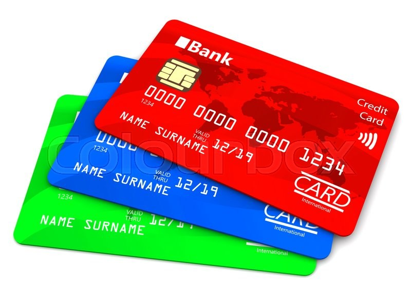 Stock image of '3d illustration of credit cards over white background'