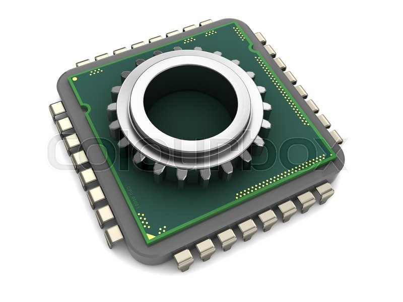 Stock image of '3d illustration of computer chip and gear wheel'