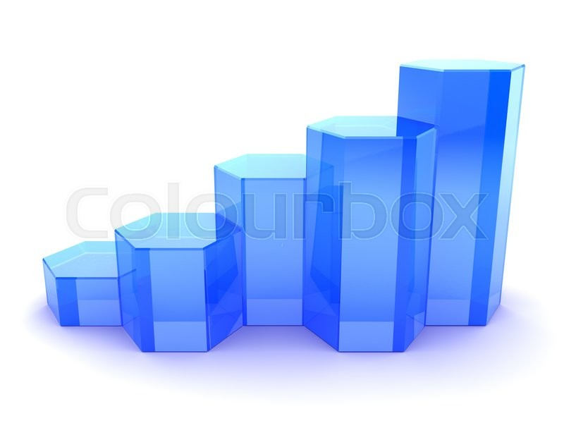 Stock image of '3d illustration of growing graph over white background'