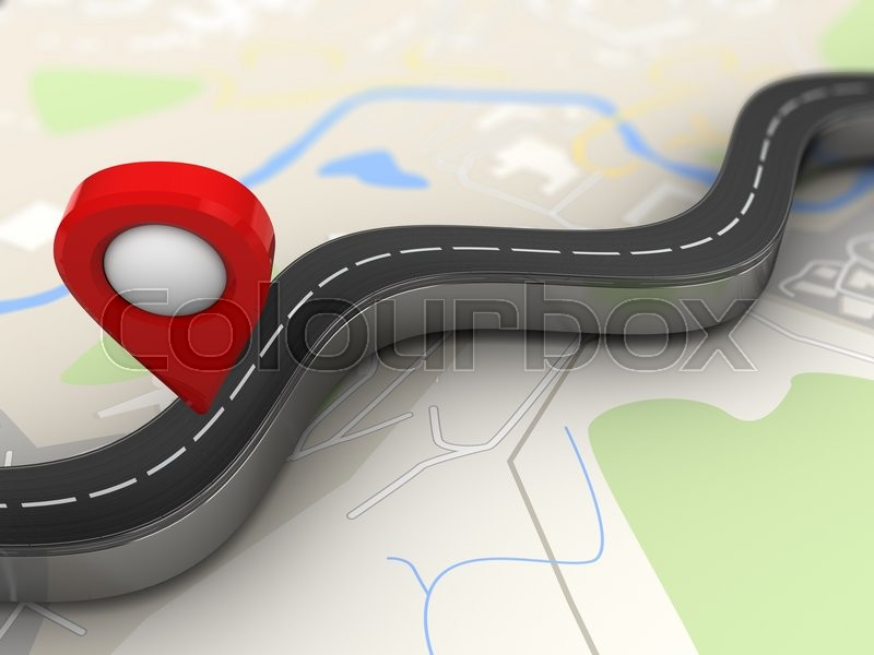 Stock image of '3d illustration of road with red navigation pin over map background'