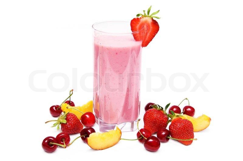 Frugt smoothie med kirsebær , jordbær ... | Stock foto | Colourbox