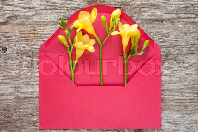 Stock image of 'Yellow feesia flowers in red envelope,top view on wooden background'