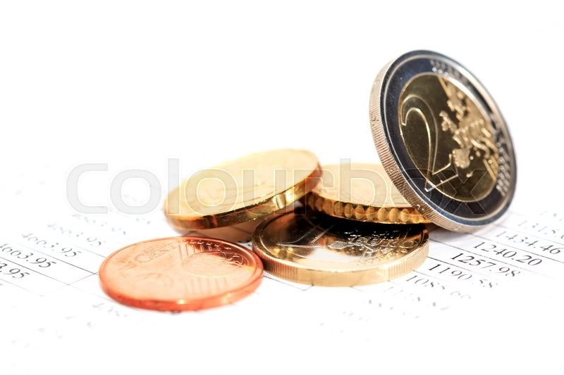 Stock image of 'Set of European coins on white background with digits'