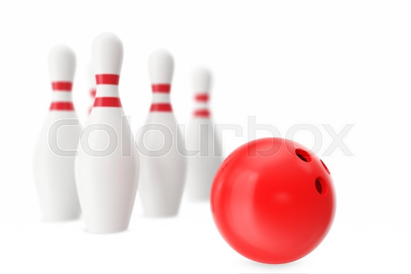 Stock image of 'Red bowling ball in the foreground with a blur effect. 3d illustration'