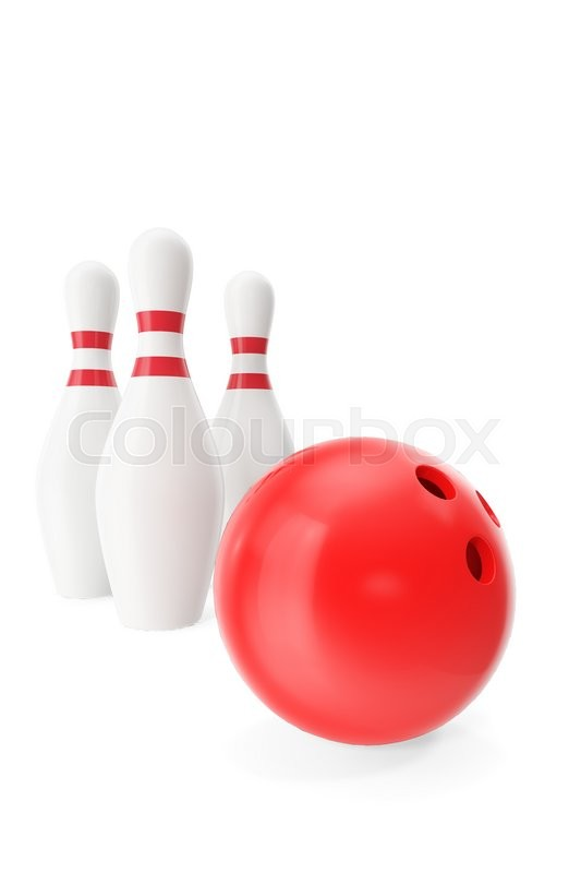 Stock image of 'Red bowling ball in the foreground isolated on white. 3d illustration'