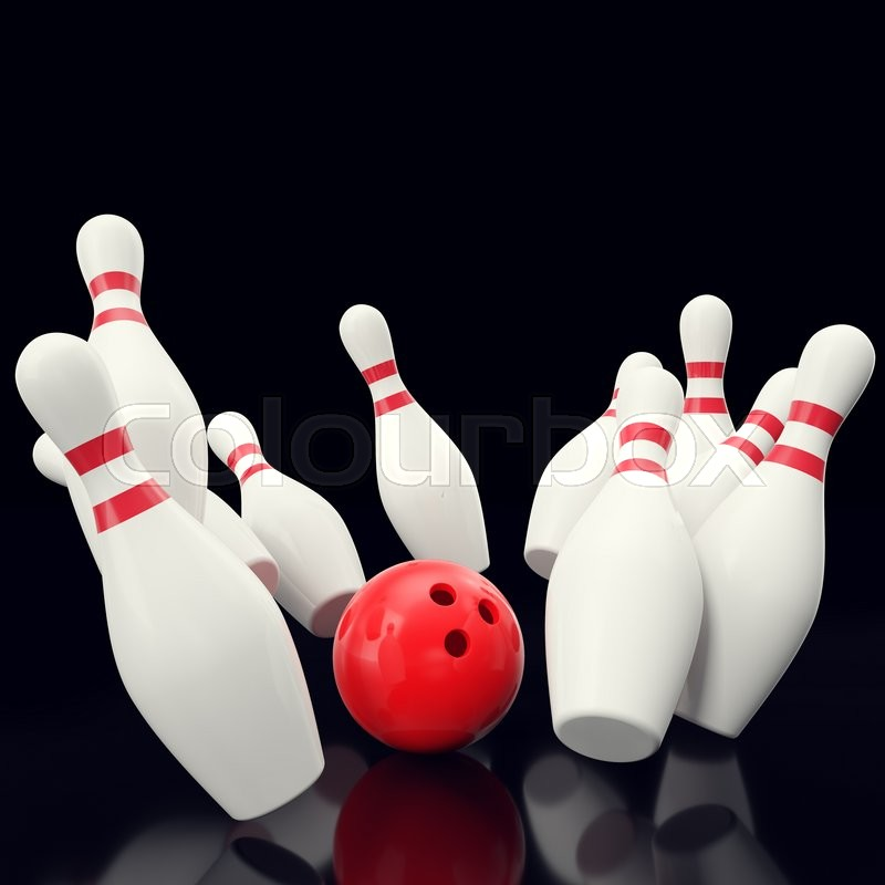 Stock image of 'Bowling game with red bowling ball crashing into the skittles. on black backgorund, 3d illustration'