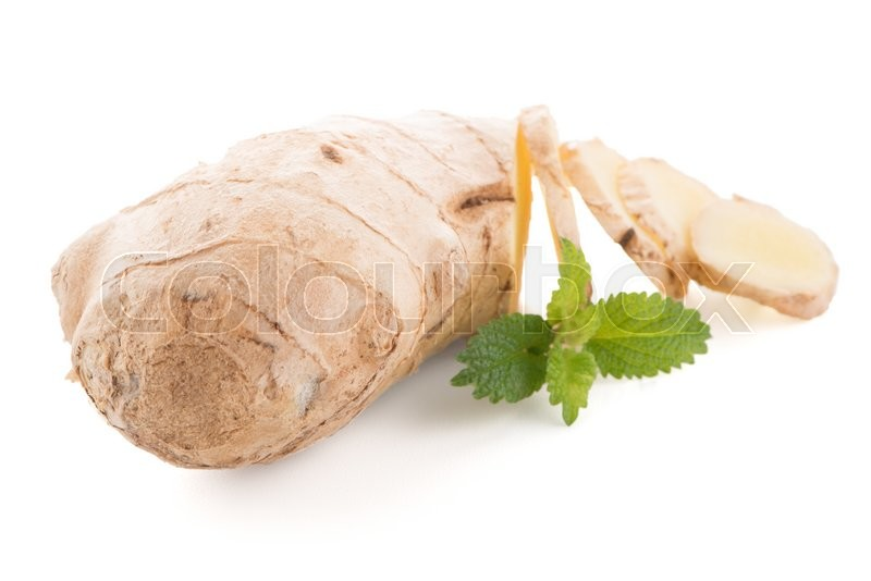 Stock image of 'Ginger root isolated on white background.'