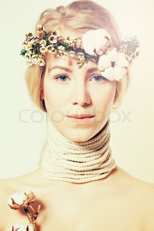 Stock image of 'Fashion blond woman with beautiful makeup and healthy hair, sweet day concept'