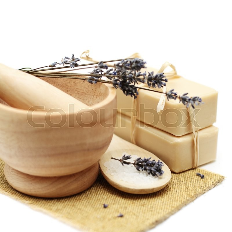Stock image of 'Spa background with natural soap and lavender'