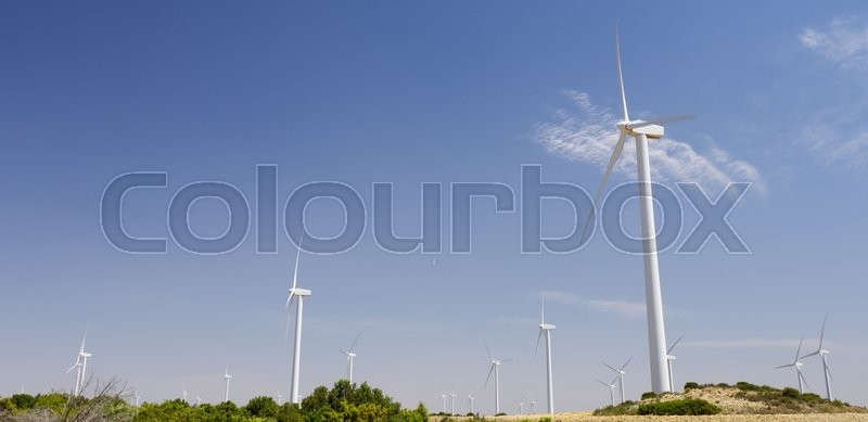 Stock image of 'group of windmills for renewable electric energy production, Fuendetodos, Saragossa, Aragon, Spain'