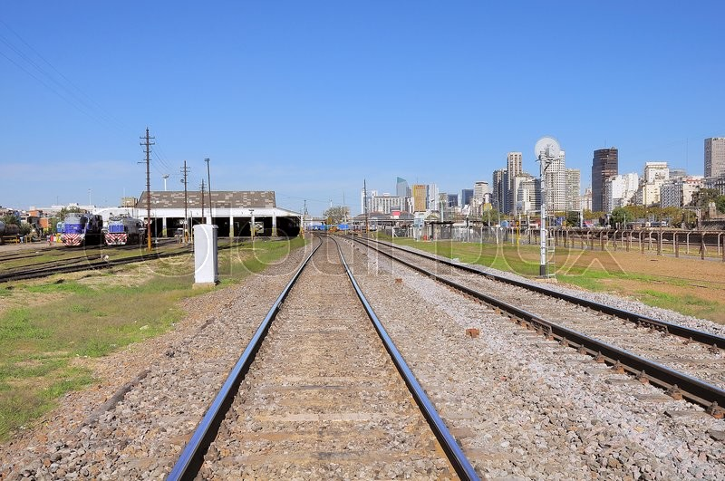 Stock image of 'Railway near San Martin station. Buenos Aires. Argentina.'