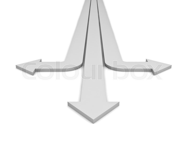 Stock image of 'Three arrows showing three different directions isolated over white background. 3D rendering.'