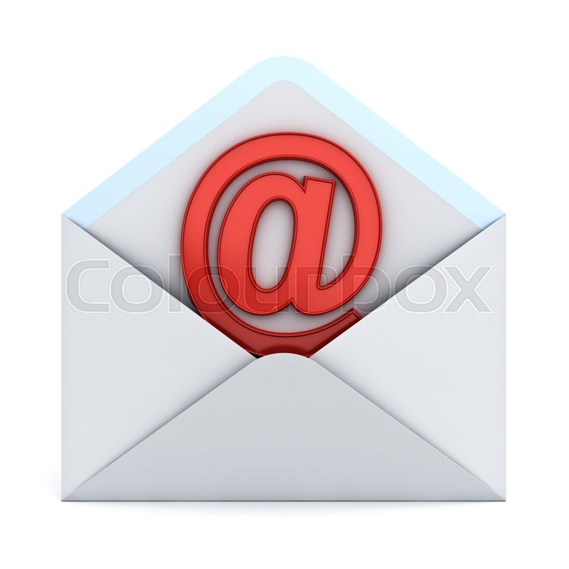 Stock image of 'Red at sign mail in envelope E mail concept isolated on white background. 3D rendering.'