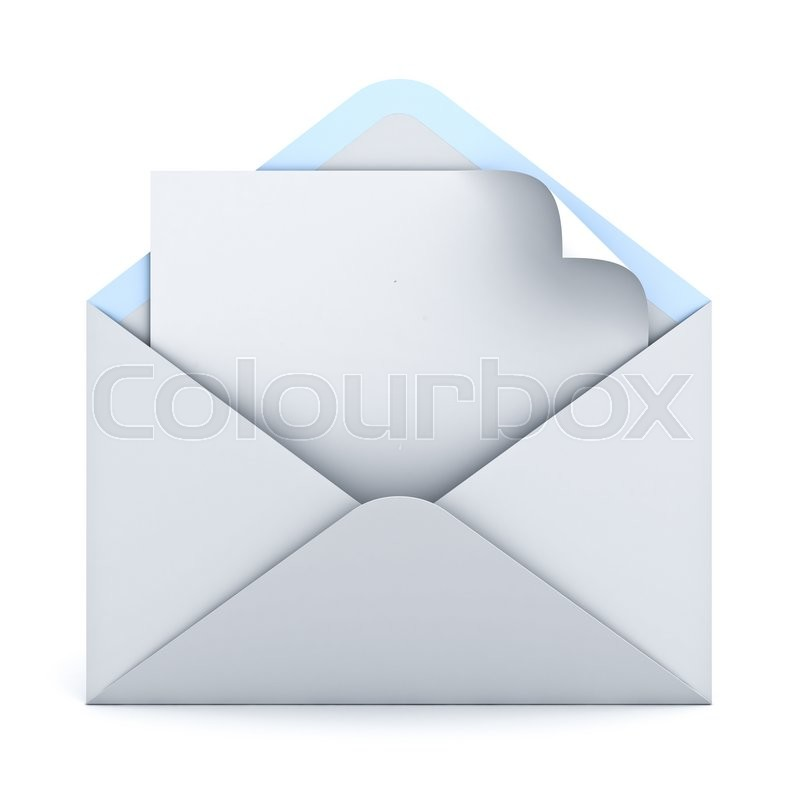 Stock image of 'Blank paper with page curl in white envelope isolated on white background with shadow. 3D rendering.'