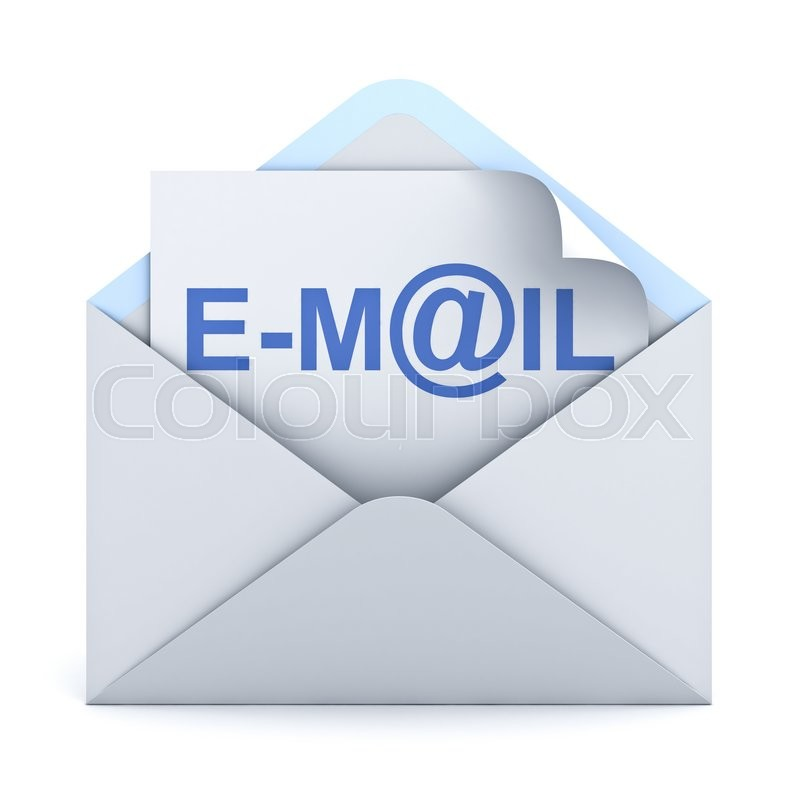 Stock image of 'E mail concept isolated over white background. 3D rendering.'