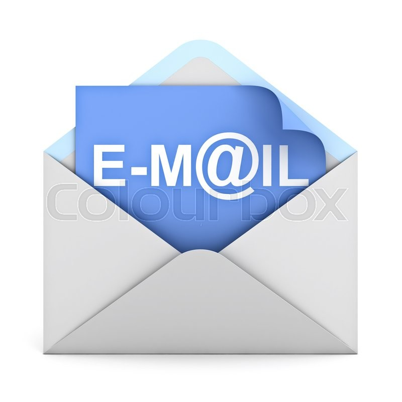Stock image of 'E mail concept isolated on white background. 3D rendering.'