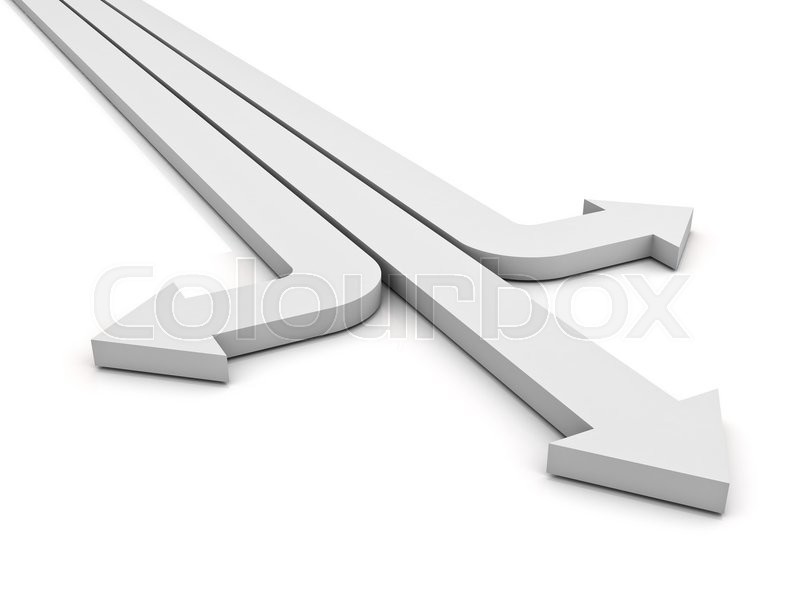 Stock image of 'Three white arrows showing three different directions isolated over white background. 3D rendering.'