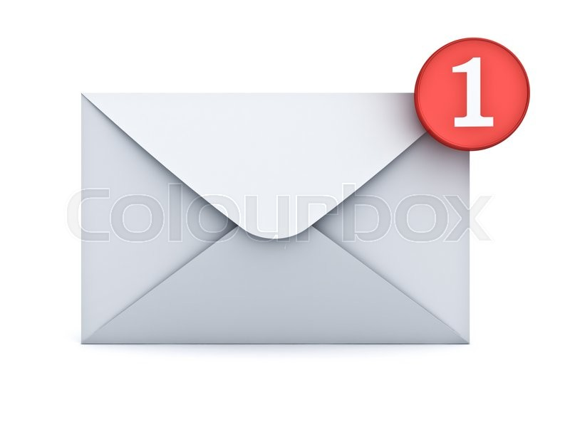 Stock image of 'E mail notification one new email message in the inbox concept isolated on white background with shadow. 3D rendering.'