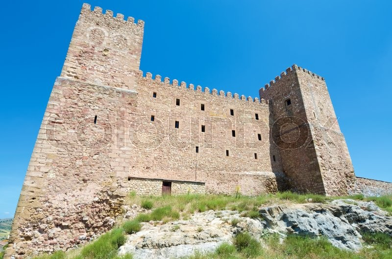 Stock image of 'Siguenza Castle, of Arab origin was built in the 12th century is now Parador Nacional de Turismo, Guadalajara, Castilla La Mancha, Spain.'