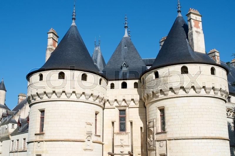 Stock image of 'Entrance to the castle of Chaumont Sur Loire, Loire Valley, France. Originally built in the 10th century, has undergone multiple renovations until reaching its present appearance. It is a French Historic Monument since 1840.'