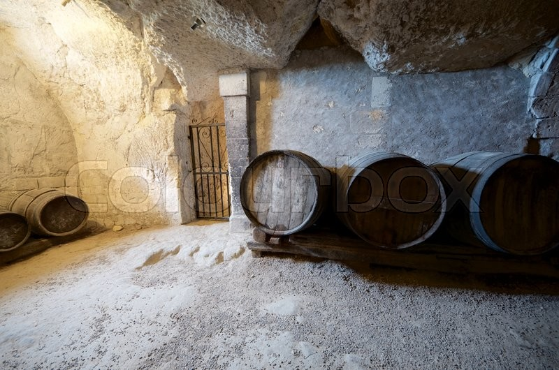 Stock image of 'stacked wine barrels in Loire Valley, France.'