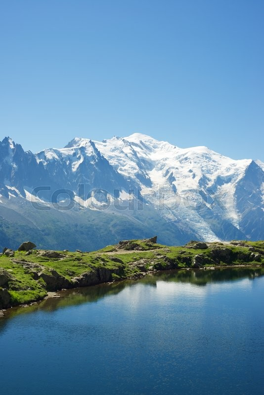 Stock image of 'Mont Blanc reflected in Cheserys Lake, Mont Blanc Massif, Alps, France'