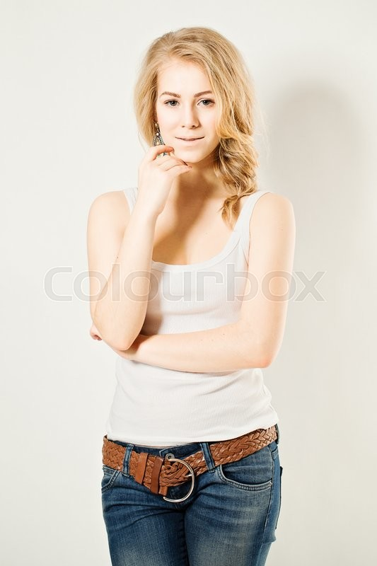 Stock image of 'Young beautiful woman with natural make up'