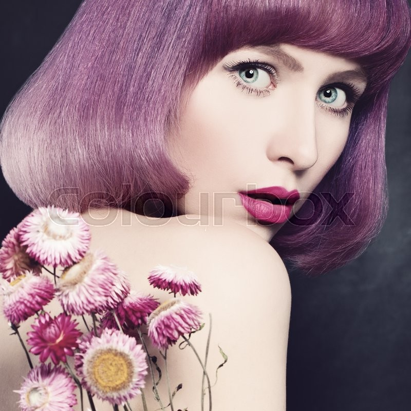 Stock image of 'Pretty Girl. Makeup. Purple Color Hairstyle'